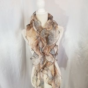 Accessories - Ruffled Semi Sheer Pale Animal Print Scarf